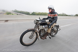 Dean Bordigioni of CA rides his 1914 Harley-Davidson during the Motorcycle Cannonball Race of the Century. Stage-8 from Wichita, KS to Dodge City, KS. USA. Saturday September 17, 2016. Photography ©2016 Michael Lichter.