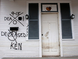 10th December, 2005. New Orleans, Louisiana. Hurricane Katrina aftermath. <br /> Deceased. The front porch of a house in Gentilly where sadly a victim of the storm perished.<br /> Photo; ©Charlie Varley/varleypix.com