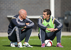 NEWPORT, WALES - Tuesday, October 7, 2014: Wales' James Collins and Gareth Bale training at Dragon Park National Football Development Centre ahead of the UEFA Euro 2016 qualifying match against Bosnia and Herzegovina. (Pic by David Rawcliffe/Propaganda)