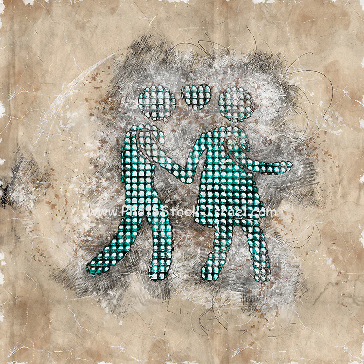 Digitally enhanced image of a sketch of a male and a  female figures walking hand in hand with a heart symbol of love between them. Photograph of Pedestrian lights at a zebra crossings in Vienna Austria