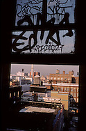 New York. Brooklyn. graphs in Dumbo area, artist leaving under the Brooklyn and Manhattan bridges  Brooklyn New York  Usa /   Graffitis, Dumbo, quartier des docks occupes par les artistes sous les ponts de Manhattan et de Brooklyn  Brooklyn New York  Usa