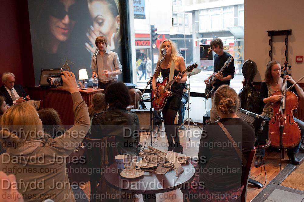 Tallulah Rendall.  Alive Album launch.  Cafe Nero. 27 Haymarket. London. 6 June 2011.<br /> <br />  , -DO NOT ARCHIVE-© Copyright Photograph by Dafydd Jones. 248 Clapham Rd. London SW9 0PZ. Tel 0207 820 0771. www.dafjones.com.