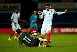 Josh Tymon of England tackles Benjamin Goller of Germany Under 19s - Mandatory by-line: Robbie Stephenson/JMP - 05/09/2017 - FOOTBALL - One Call Stadium - Mansfield, United Kingdom - England U19 v Germany U19 - International Friendly