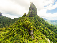 Aerial view of the mountainous interior of Moorea from the Col des 3 cocotiers viewpoint, Windward Islands, French Polynesia