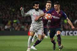 May 1, 2019 - Barcelona, Barcelona, Spain - Salah of Liverpool and Lenglet of Barcelona in action during UEFA Champions League football match, between Barcelona and Liverpool, Mayl 01th, in Camp Nou stadium in Barcelona, Spain. (Credit Image: © AFP7 via ZUMA Wire)
