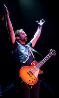John Angus McDonald, guitarist of The Trews encourages the crowd at Prospera Place in Kelowna opening up for Kid Rock.