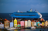 Cruise ship departing Willemstad, Curacao, Netherlands Antilles