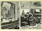 Listening to the Opera at home From the Book Les merveilles de la science, ou Description populaire des inventions modernes [The Wonders of Science, or Popular Description of Modern Inventions] by Figuier, Louis, 1819-1894 Published in Paris 1867