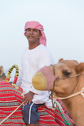 Man with camel in the desert near Dubai, United Arab Emirates