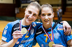 Tamara Georgijev of RK Krim Mercator and Ines Amon of RK Krim Mercator celebrate after the handball match between RK Krim Mercator and ZRK Z'Dezele Celje in Last Round of Slovenian National Championship 2016/17, on April 18, 2017 in Arena Galjevica, Ljubljana, Slovenia. Photo by Vid Ponikvar / Sportida