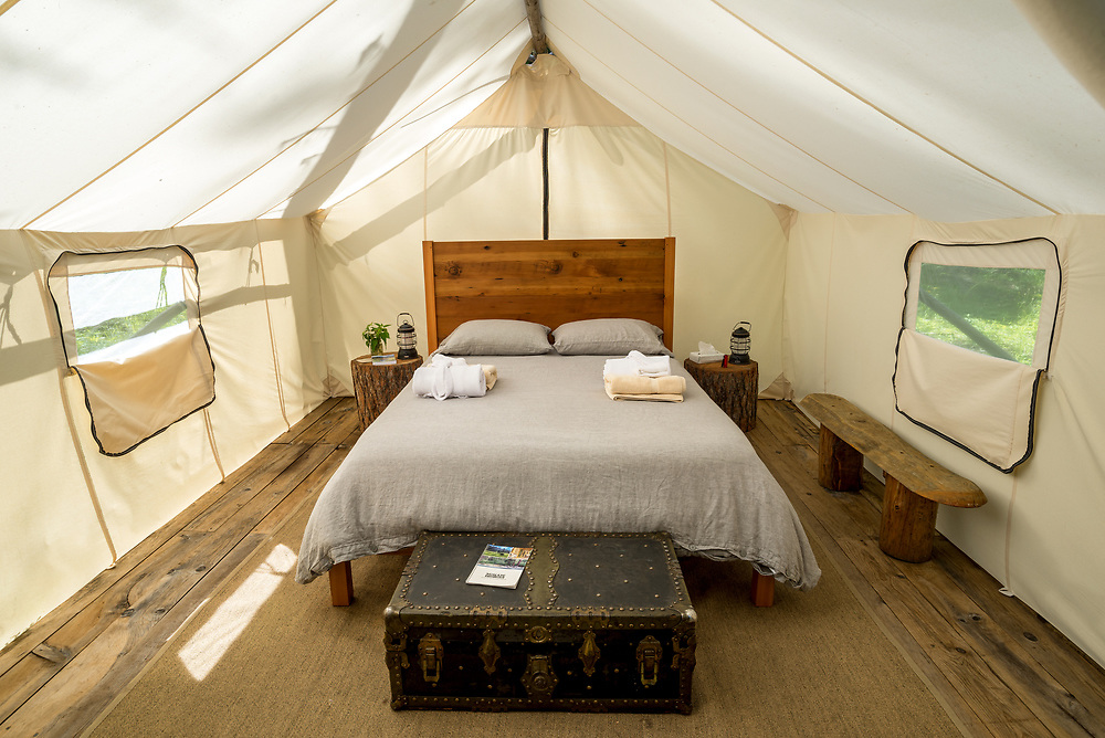 Wall tent accomodations at the Minam River Lodge in Oregon's Wallowa Mountains.