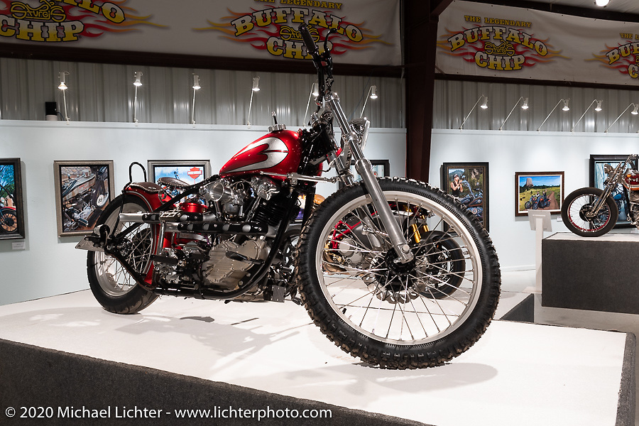Tom Keefer built Red Knuckle in 2011 with a S&S KN 93 Knucklehead and Baker 6 into 4 in a 1981 FX hard-tailed with a Panhead rear section. This sweet bike was in the Heavy Mettle - Motorcycles and Art with Moxie exhibition at the Sturgis Buffalo Chip. This is the 2020 iteration of the annual Motorcycles as Art series curated and produced by Michael Lichter. Sturgis, SD, USA. Friday, August 7, 2020. Photography ©2020 Michael Lichter.