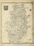 Ancient 19th Century map of Nottinghamshire (Nottingham shire abbr Notts.) a county in the East Midlands region of England. Copperplate engraving From the Encyclopaedia Londinensis or, Universal dictionary of arts, sciences, and literature; Volume XVII;  Edited by Wilkes, John. Published in London in 1820