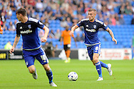 Cardiff City's Joe Ralls (8) goes on the attack. Skybet football league championship match, Cardiff city v Wolverhampton Wanderers at the Cardiff city stadium in Cardiff, South Wales on Saturday 22nd August 2015.<br /> pic by Carl Robertson, Andrew Orchard sports photography.