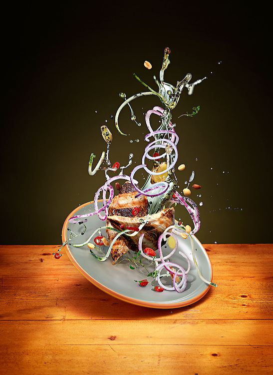 Series of images created for Men's Heath magazine depicting selected healthy recipes with dynamic approach to food photography. The shots portray how the food would look in the state of weightlessness. Gravity defying recipes floating in midair.