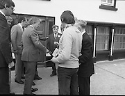 Taoiseach's Election Campaign.      (N77)..1981..23.05.1981..05.23.1981..23rd May 1981..On the 21st May the Taoiseach, Mr Charles Haughey, dissolved the Dáil and called a general election. Charles Haughey, Garret Fitzgerald and Frank Cluskey were leading their respective parties into a general election for the first time as they had only taken party leadership during the last Dáil..Fianna Fáil had hoped to call the election earlier, but the Stardust Tragedy caused the decision to be deferred..Charles Haughey meets and greets supporters in Lucan, Co Dublin.