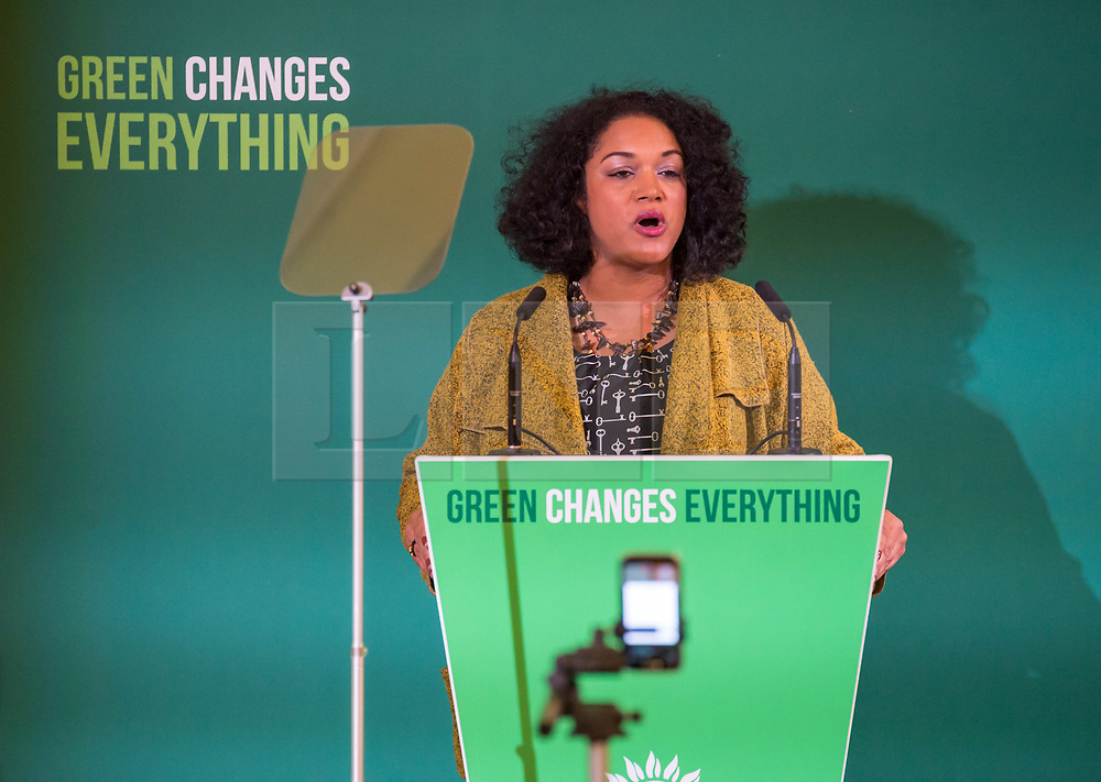 © Licensed to London News Pictures. 05/10/2018. Bristol, UK. Green Party Autumn Conference, held at Bristol City Hall. Bristol Lord Mayor CLEO LAKE who is also a Green Party councillor on Bristol City Council gives gives an introductory welcome to the conference. The key note speech was given by Green Party Co-leaders Sian Berry and Jonathan Bartley. Photo credit: Simon Chapman/LNP