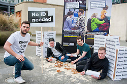 Left to right Howard Long , Michael McDonnell, Oli Longland and Dominic McDonnell help Launch the campaign against the use of Illegal Tobacco in Tudor Square, Sheffield on Tuesday<br /> <br /> 11 November 2014<br /> Image © Paul David Drabble <br /> www.pauldaviddrabble.co.uk