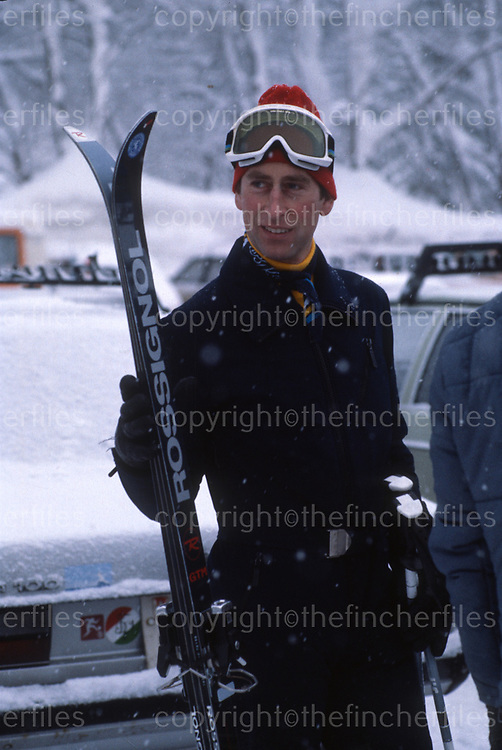 Prince Charles, The Prince of Wales seen during a ski holiday to Klosters,Switzerland in January 1979. Photographed by Jayne Fincher