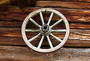 Wagon wheel. Val di Funes (Villnöß valley) in the Dolomites, Italy, Europe.