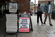 "On US President Donald Trump's first day of a controversial three-day state visit to the UK by the 45th American President, copies of the Evening Standard with the headline ""All guns blazing"" after his uncomplimentary comments about London Mayor Sadiq Khan, on 3rd June 2019, in London England."