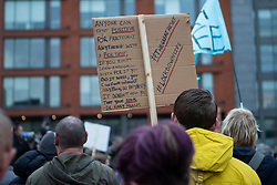 © Licensed to London News Pictures. 12/12/2020. Manchester, UK. Crowd gathers with signs for North Unites protest in Piccadilly Gardens, Manchester. Piers Corbyn is expected to make a speech later. Photo credit: Kerry Elsworth/LNP