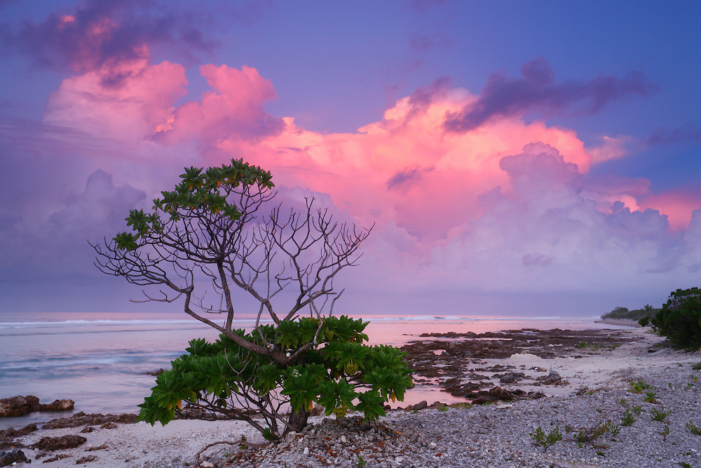 Vista del Oceano Pacífico al atardecer, Rangiroa, Archipiélago Tuamotu, Polinesia Francesa