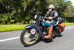 Frank Westfall riding his 1930 Henderson KJ in the Cross Country Chase motorcycle endurance run from Sault Sainte Marie, MI to Key West, FL. (for vintage bikes from 1930-1948). 287 mile ride of Stage-8 from Tallahassee to Lakeland, FL USA. Friday, September 13, 2019. Photography ©2019 Michael Lichter.