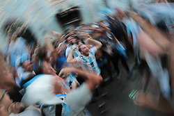 June 18, 2018 - Moscow, U.S. - MOSCOW, RUSSIA - JUNE 18: Fans of Argentina celebrate on Nikolskaya Street during the 2018 FIFA World Cup on June 18, 2018, in Moscow, Russia. (Photo by Anatoliy Medved/Icon Sportswire) (Credit Image: © Anatoliy Medved/Icon SMI via ZUMA Press)