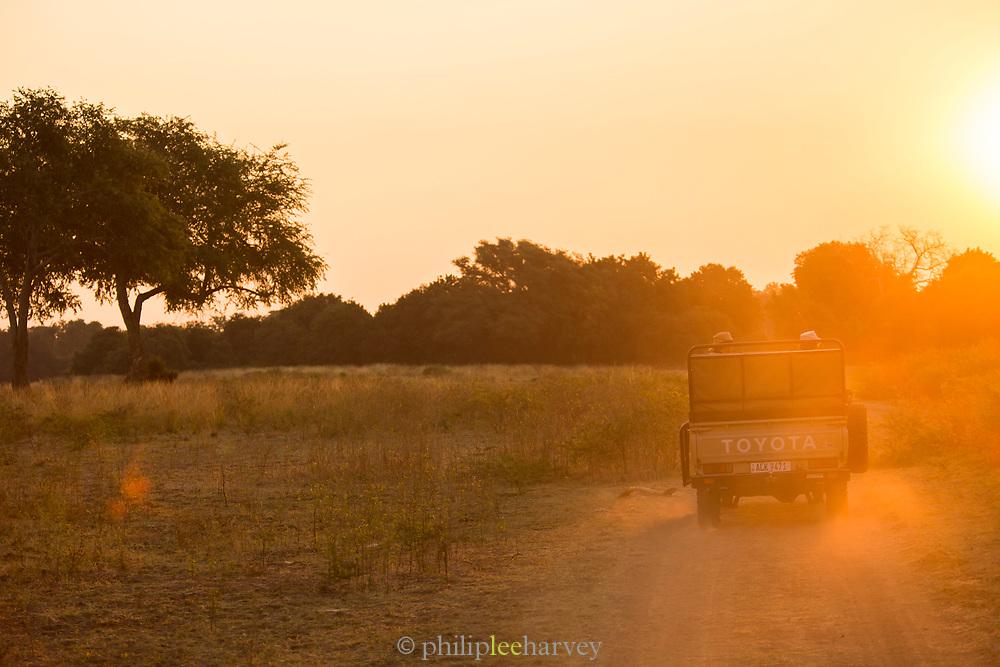 Safari 4x4 at sunrise in South Luangwa National Park, Zambia