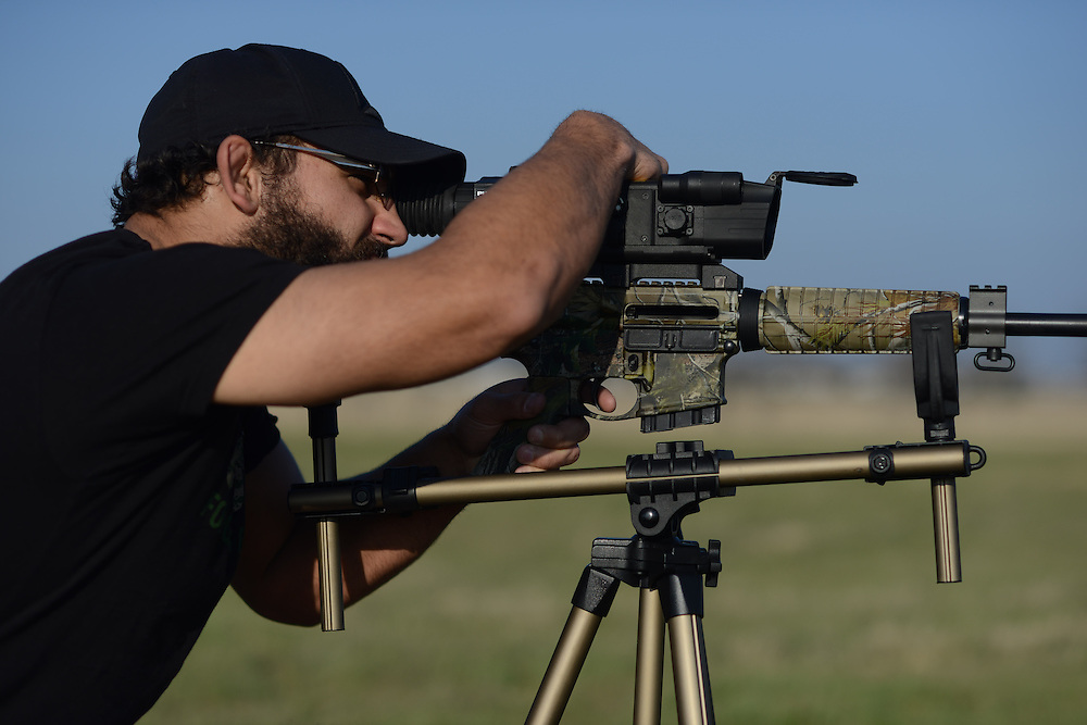 Johny Hendricks at his camper outside Velociti Fitness, cutting weight in the hot tub at Lifetime Fitness and shooting guns at a friends field on March 9, 2014 outside of Mansfield, Texas.