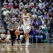UNCASVILLE, CONNECTICUT- DECEMBER 19:  Gabby Williams #15 of the Connecticut Huskies in action during the Naismith Basketball Hall of Fame Holiday Showcase game between the UConn Huskies Vs Oklahoma Sooners, NCAA Women's Basketball game at the Mohegan Sun Arena, Uncasville, Connecticut. December 19, 2017 (Photo by Tim Clayton/Corbis via Getty Images)