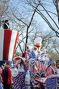 Nina Davuluri, Miss America, waves from the Uncle Sam's Top Hat float in the Macy's Thanksgiving Day Parade.