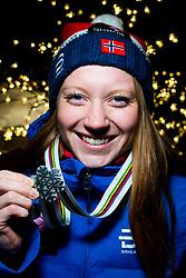 February 2, 2018 - Goms, SWITZERLAND - 180202 Lone Johansen of Norway poses with the silver medal for the women's 5/5 km skiathlon during the FIS Nordic Junior World Ski Championships on February 2, 2018 in Gluringen..Photo: Vegard Wivestad GrÂ¿tt / BILDBYRN / kod VG / 170097 (Credit Image: © Vegard Wivestad Gr¯Tt/Bildbyran via ZUMA Press)