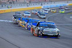 September 14, 2018 - Las Vegas, NV, U.S. - LAS VEGAS, NV - SEPTEMBER 14:  Noah Gragson (18) Safelite Auto Glass Kyle Busch Racing Toyota Tundra leads early during during the World of Westgate 200 NASCAR Camping World Truck Series Playoff Race on September 14, 2018, at Las Vegas Motor Speedway in Las Vegas, NV. (Photo by David Griffin/Icon Sportswire) (Credit Image: © David Griffin/Icon SMI via ZUMA Press)