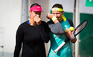 Lucie Hradecka of the Czech Republic and Andreja Klepac of Slovenia playing doubles at the Roland Garros 2020, Grand Slam tennis tournament, on October 1, 2020 at Roland Garros stadium in Paris, France - Photo Rob Prange / Spain ProSportsImages / DPPI / ProSportsImages / DPPI