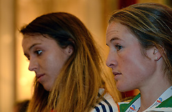 07-12-2013 ATHLETICS: SPAR EC CROSS COUNTRY: BELGRADE<br /> Press conference regarding the SPAR European Cross Country Championships held in the city of Belgrade Ceremonial Assembly Hall / Fionnuala Britton IRE and  Emelia Gorecka GBR<br /> ©2013-WWW.FOTOHOOGENDOORN.NL