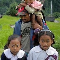 Asia, Nepal, Ghandruk. School children of the Annapurna Region.