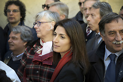 April 25, 2017 - Rome, Italy - Italy's mayor of Rome VIRGINIA RAGGI. Liberation Day (Festa della Liberazione), also known as the Anniversary of the Liberation (Anniversario della liberazione d'Italia), Anniversary of the Resistance (anniversario della Resistenza), or simply April 25 is a national Italian holiday commemorating the end of the Italian Civil War and the end of Nazi occupation of the country during World War II. This year a double procession, one of the Partisan association, and the other of the Jewish Brigade (contrary to the presence of Palestinian organizations to the parade of the partisans).  (Credit Image: © Danilo Balducci via ZUMA Wire)