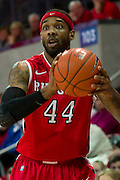 DALLAS, TX - JANUARY 21: J.J. Moore #44 of the Rutgers Scarlet Knights brings the ball up court against the SMU Mustangs on January 21, 2014 at Moody Coliseum in Dallas, Texas.  (Photo by Cooper Neill/Getty Images) *** Local Caption *** J.J. Moore
