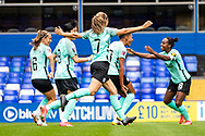 GOAL scores 1-0 Brighton & Hove Albion defender Victoria Williams (20) scores and and celebrates during the FA Women's Super League match between Birmingham City Women and Brighton and Hove Albion Women at St Andrews, Birmingham United Kingdom on 12 September 2021.