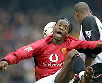 Louis Saha (Utd). Fulham v Manchester United. 28/2/04. Credit : Digitalsport/Andrew Cowie.