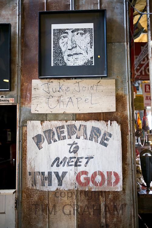 Prepare to Meet Thy God poster message at The Shack Up Inn cotton pickers themed hotel, Clarksdale, Mississippi USA
