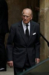 The Duke of Edinburgh leaves St Paul's Church in Knightsbridge, London after attending the funeral of Countess Mountbatten of Burma.