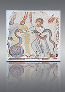 Roman mosaic of a Young boy playing with snakes, possibly an early Christian mosaic. Syria or Lebanon, 5th century AD. Cubes of marble and limestone. Dressed in a long tunic, the child playing with two snakes could be illustrating a passage from the Book of Isai (11.6 to 8). This fragmented mosaic panel once continued in upper part, as indicated by the animal hoofs, and to the right of the mosaic are remains of a Greek inscription. inv 5094. Louvre Museum, Paris .<br /> <br /> If you prefer to buy from our ALAMY PHOTO LIBRARY  Collection visit : https://www.alamy.com/portfolio/paul-williams-funkystock/roman-mosaic.html - Type -   Louvre    - into the LOWER SEARCH WITHIN GALLERY box. Refine search by adding background colour, place, museum etc<br /> <br /> Visit our ROMAN MOSAIC PHOTO COLLECTIONS for more photos to download  as wall art prints https://funkystock.photoshelter.com/gallery-collection/Roman-Mosaics-Art-Pictures-Images/C0000LcfNel7FpLI .