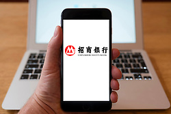 Using iPhone smartphone to display logo of China Merchants Bank