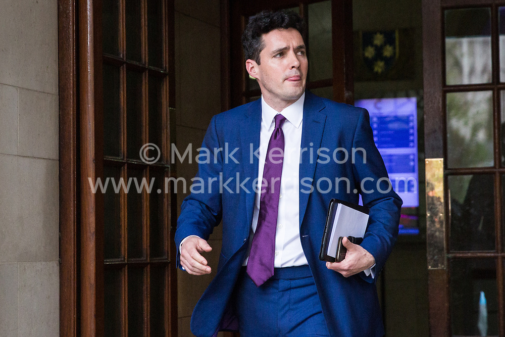 London, UK. 9th April 2019. Huw Merriman, Conservative MP for Bexhill and Battle and an unpaid parliamentary private secretary to Chancellor of the Exchequer Philip Hammond, leaves after addressing the People's Vote rally in Westminster. Earlier today, Merriman, who voted for the Prime Minister's Brexit deal, claimed that Government whips had advised him that he was likely to be sacked or asked to resign if he spoke in favour of a People's Vote at the rally.