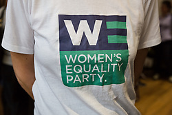 © Licensed to London News Pictures. 12/05/2017. LONDON, UK.  A supporter's tee shirt at the Women's Equality Party general election manifesto launch at the party headquarters in London.  Photo credit: Vickie Flores/LNP