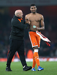 Blackpool's Michael Nottingham celebrates after the final whistle