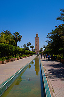 MARRAKESH, MOROCCO - CIRCA APRIL 2018: View of the Koutoubia Mosque minaret from Parc Lalla Hasna in Marrakesh